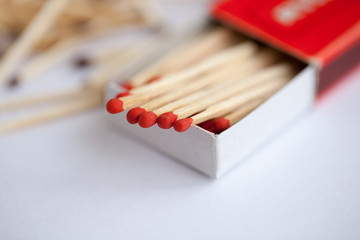 Wooden match in the box