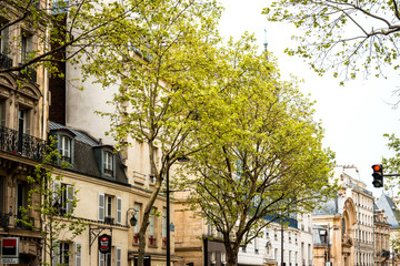 PARIS, FRANCE - May 7 : beautiful Street view of  Buildings arou