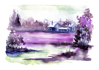 Watercolor landscape. View of the village, river, forest. Season - summer. Watercolor painting