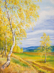 Oil Painting on canvas. Gold autumn