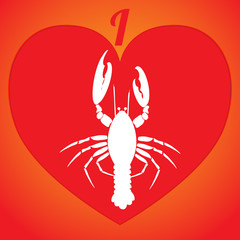 I love lobster. Logo or icon in red heart