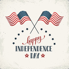 Happy Independence Day. Flags of USA with text on retro background. USA Independence Day banner in vintage style.