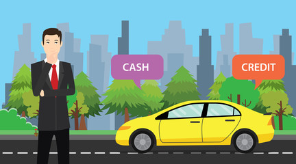a businessman choose between cash or credit to buy his car vector graphic