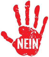 Nein heißt nein Hand rot