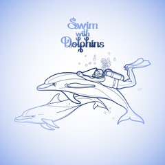 Graphic scuba diver riding the dolphin