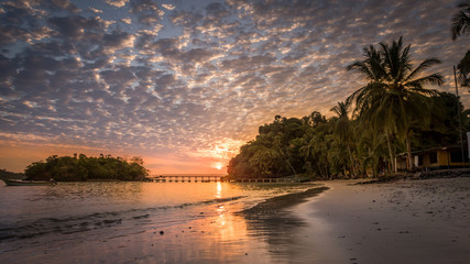 Sunrise on tropical beach, Isla Coiba, Panama