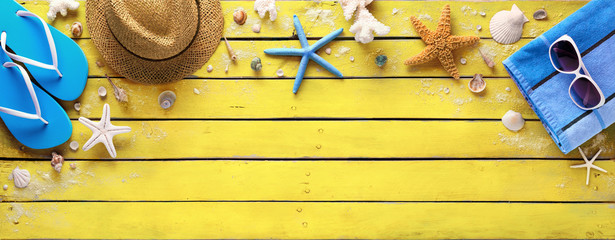 Beach Accessories On Yellow Wooden Plank - Summer Colors