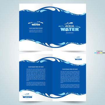 brochure design template booklet water aqua splash drops blue