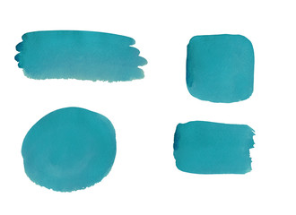 Collection of blue watercolor design elements isolated on white background
