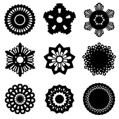 Set of decorative design elements isolated on white background.  Flowers, snowflakes, abstract floral pattern, stars. Vector logo, emblem, sign, stick figures. Black silhouettes. Design template