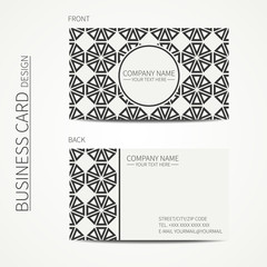 Vector simple business card design. Template. Black and white. Business card for corporate business and personal use. Trendy calling card. Geometric monochrome line lattice arabic pattern. Oriental