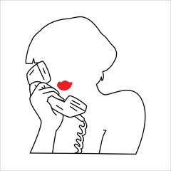 The woman's silhouette with phone. Vector illustration