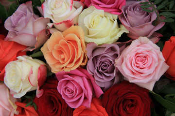 Mixed bridal roses