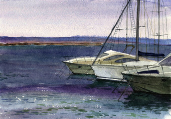 sea, boats, dock, watercolor