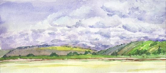 hills, sky, summer, watercolor
