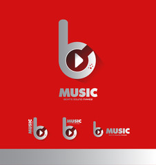 Music beats play butoon logo icon