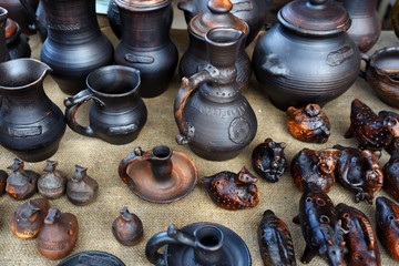 Ceramic brown handmade pottery