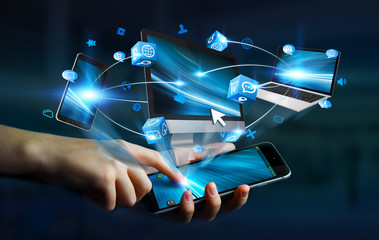 Businesswoman connected tech devices and icons applications with