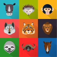 Animals color flat set