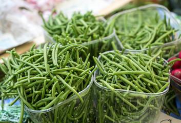 Fresh green beans on  farmer agricultural market