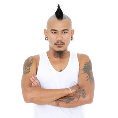 portrait of angry, mad asian punk guy with mohawk hair style, pi