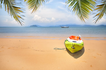 Kayak boat with coconut palm leaves on tropical beach background, happy summer holiday concept