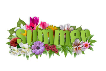 Fototapeta Lato - napis z kwiatami letnimi obraz
