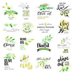 Set of hand drawn watercolor labels and elements of olive oil. Vector illustrations for olive oil labels, packaging design, natural products, restaurant