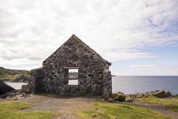 Moray Firth coast viewed through wall of ruin