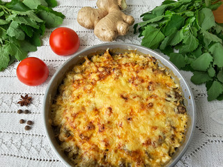 Cooking quinoa mushroom ginger gratin, organic food with weed
