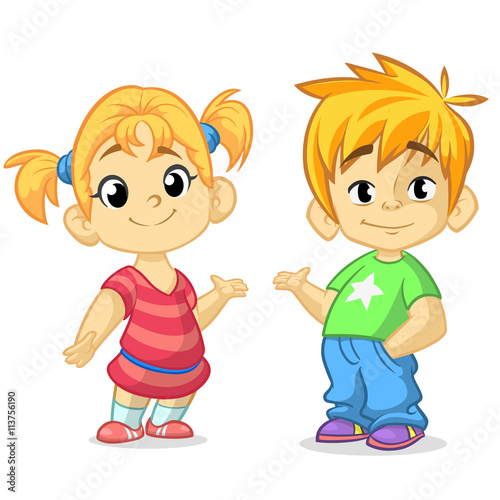 Cute Cartoon Boy And Girl With Hands Up Vector Illustration Greeting Design