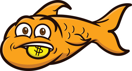 Gold Fish with Gold Coin Cartoon