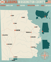 Large and detailed map and infos about Washington County in Alabama