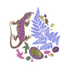 lizard and fern