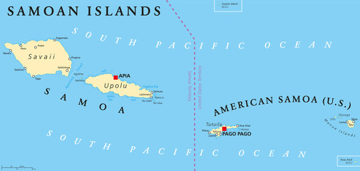Samoan Islands political map with Samoa, formerly known as Western Samoa and American Samoa and their capitals Apia and Pago Pago. English labeling and scaling. Illustration.