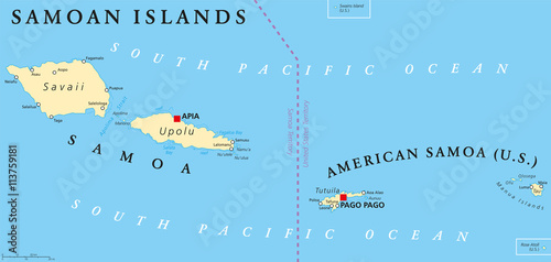 Samoan Islands political map with Samoa formerly known as Western