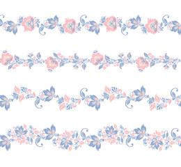 Seamless floral borders elements. Romantic vector Flower set. EPS 8