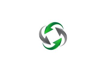 circle arrow recycle technology logo