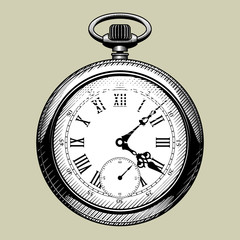 Old clock face. Retro pocket watch
