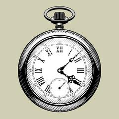 Old clock face. Retro pocket watch