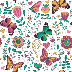 Seamless floral colorful vector pattern.