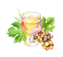 White wine glass with vine leaves, grape berries. Watercolor