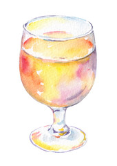 Wine glass with white or pink vine. Watercolor