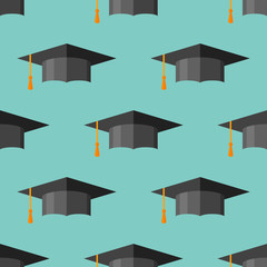 Seamless pattern with graduation cap. Vector texture.