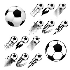 Football. Soccer. Soccer balls with different fly animations, like fire or stars, isolated on white background. Europe soccer championship. Europe football championship. Football ball. Soccer ball.