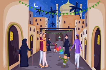 Muslim families wishing Happy Eid