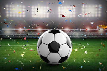soccer ball with soccer stadium and confetti background