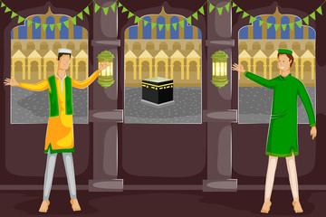 Muslim people wishing Eid Mubarak