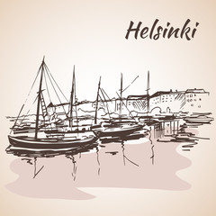 Helsinki - harbor, waterfront. Sketch, Isolated on white backgro