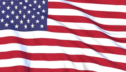 Flag of the United States of America (USA) waving on wind. Close up, 3D render.